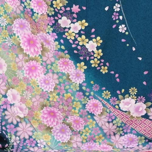 [Costumer] long-sleeved kimono rental 300 ブルーグリーン florets sink [wedding] [graduation ceremony] [full set] [rental] [rental costumes] [furisode]