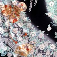[coming-of-age ceremony long-sleeved kimono] rental long-sleeved kimono 98s black X blue dyeing of variegation [coming-of-age ceremony ][ full set ][ 2014 pre-; wave about non-] / woman kimono /; sleeve rental れんたるせいじんしき / long-sleeved kimono