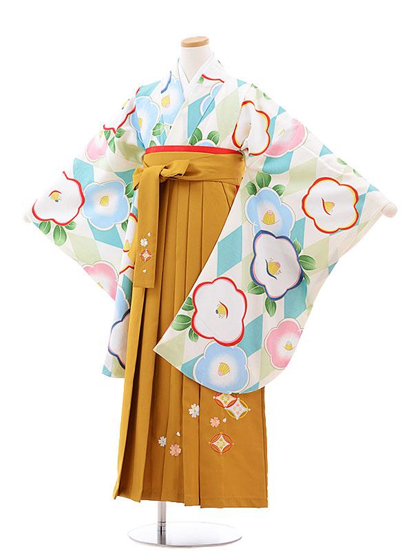 7240d9b82de93 小学生 小学生卒業式袴レンタル(女の子)9784 白ターコイズ椿×金茶袴 ...