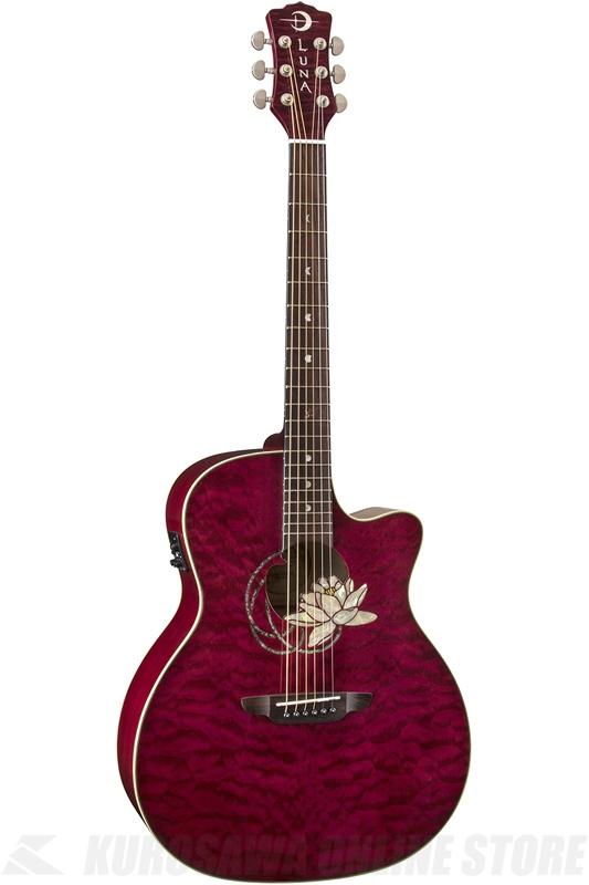Luna Guitars Flora Lotus A/E - Trans Shiraz (FLO LOT QM) (アコースティックギター)(送料無料)(ご予約受付中)
