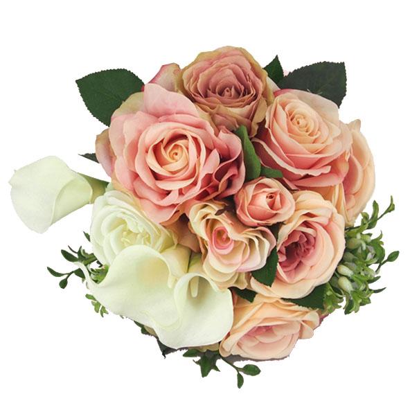 【ブーケ 造花】ウェディグ ブーケピンク ホワイト ローズ カラー ヘッドドレス ブートニアセット【ギフト 贈り物 結婚】