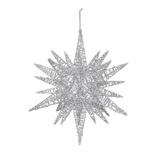 45cmワイヤースパイクスター グリッター シルバー 装飾 デコレーション クリスマス Xmas[A-B]