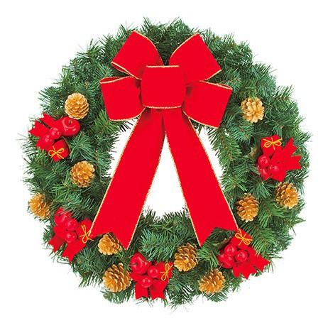 55cmリボン付デコレーションリース 造花 装飾 デコレーション クリスマス Xmas[A-B]