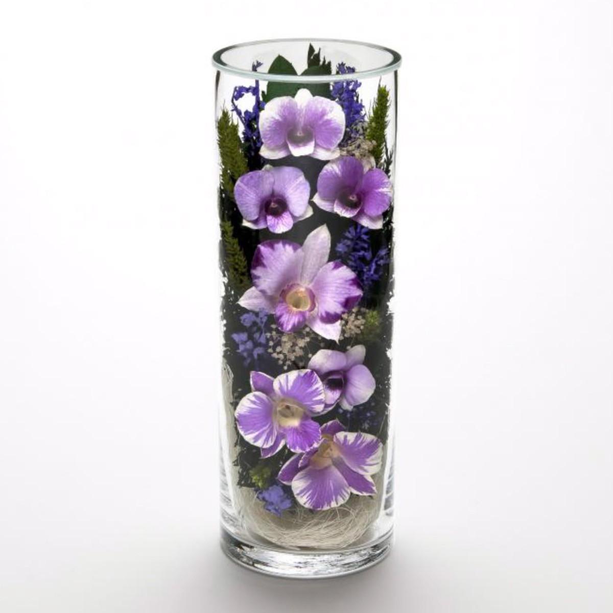 グラスウェアフラワー オーキッド グラス3L【蘭 敬老の日 贈り物 プレゼント ギフト お祝い お供え】