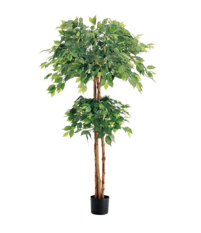 ダブルフィカスツリー 150cm(ナチュラルトランク)【観葉植物 造花 大型 フェイクグリーン CT触媒/光触媒】[D-F]