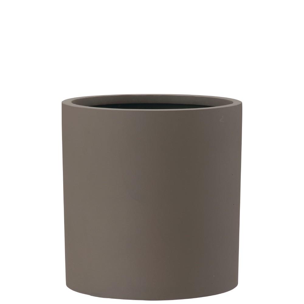 【樹木への取付費込】 ポリッシュ シリンダー ブラウン 29cm 8.5号 ポリストーンライト 丸鉢 鉢カバー ポット シンプル 軽量