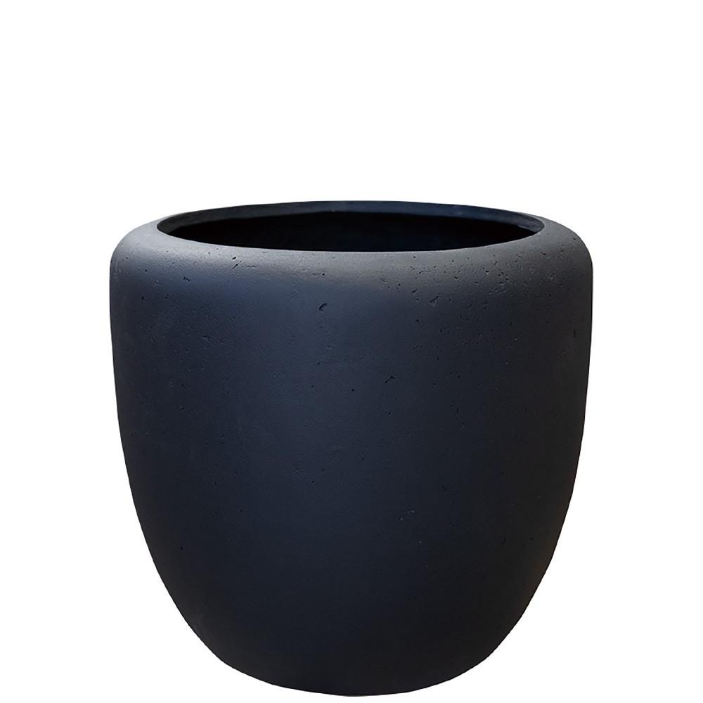 【樹木への取付費込】 カンサラ ブラック 32cm 8.5号 FRP 丸鉢 植木鉢 ポット