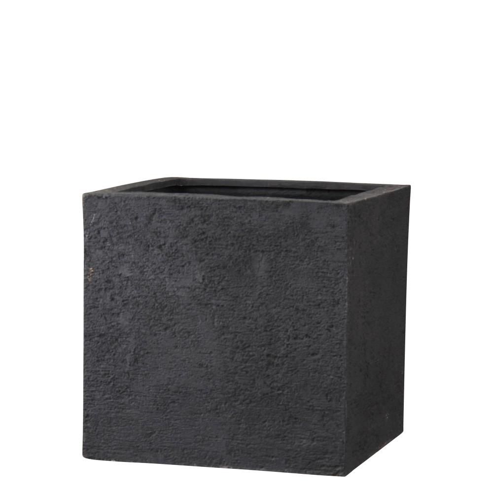 【樹木への取付費込】 リガンデ キューブ ブラック 40cm 11号 ポリストーンライト 角鉢 植木鉢 ポット 軽量