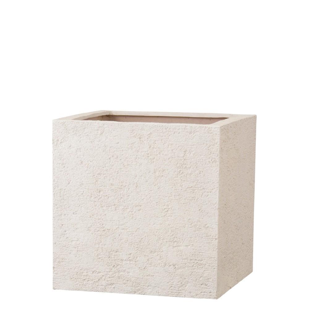 【樹木への取付費込】 リガンデ キューブ アイボリー 40cm 11号 ポリストーンライト 角鉢 植木鉢 ポット 軽量