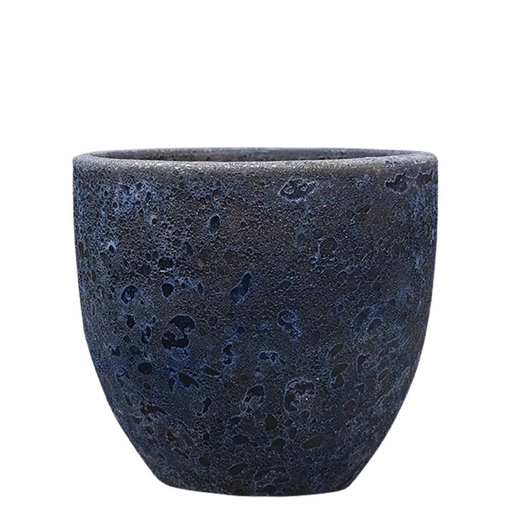 【樹木への取付費込】 ボルカーノ ラウンド Fブルー 33cm 9.5号 釉薬陶器 丸鉢 植木鉢 ポット