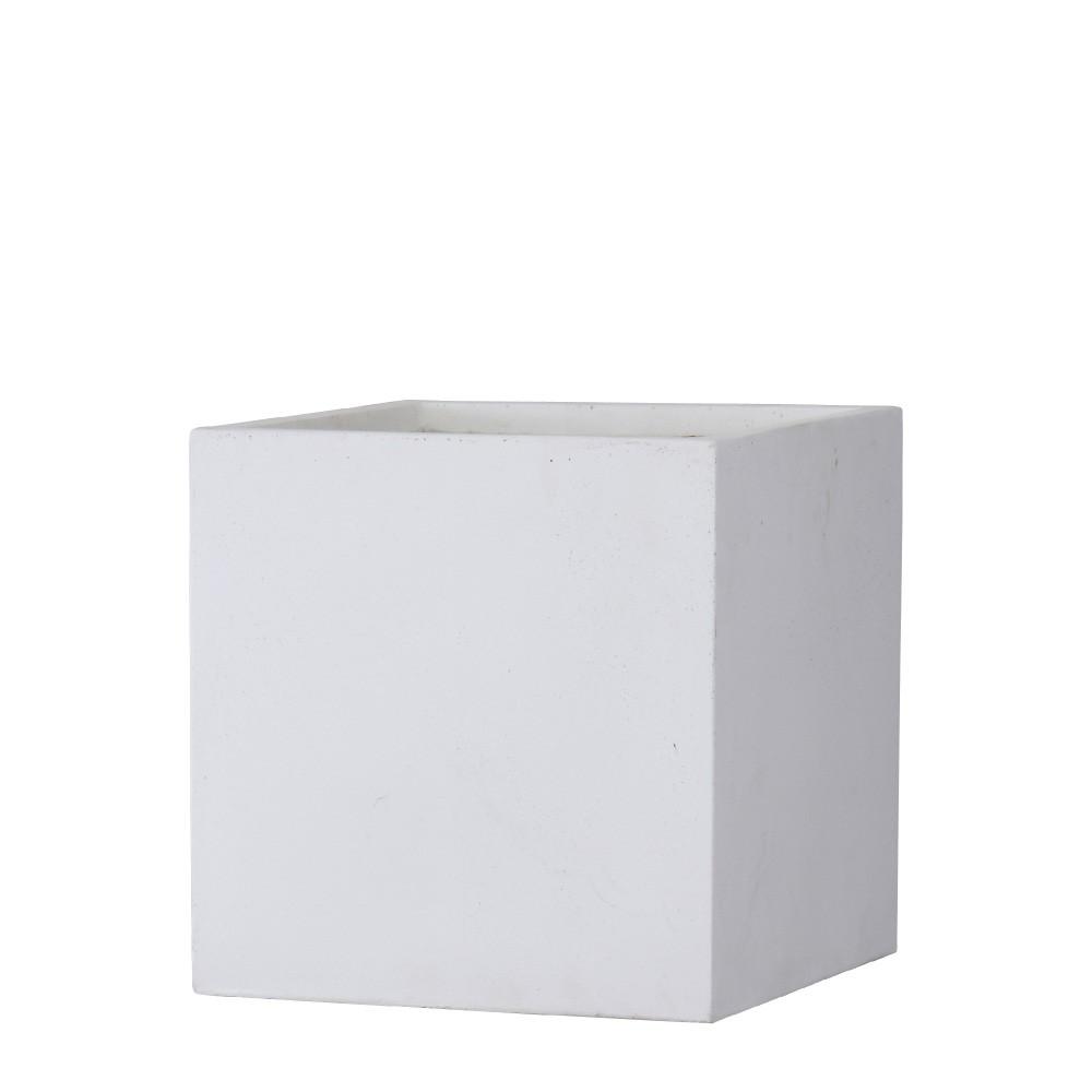 【樹木への取付費込】 バスク キューブ 40cm ホワイト 11.5号 ファイバークレイ 角鉢 植木鉢 ポット