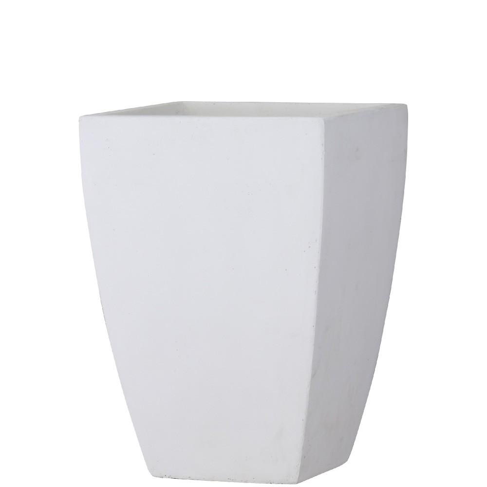 ファイバークレイ製のマットホワイトポット 樹木への取付費込 バスク スクエアー 35cm 高価値 ホワイト 植木鉢 ポット 角鉢 10号 ファイバークレイ 宅配便送料無料