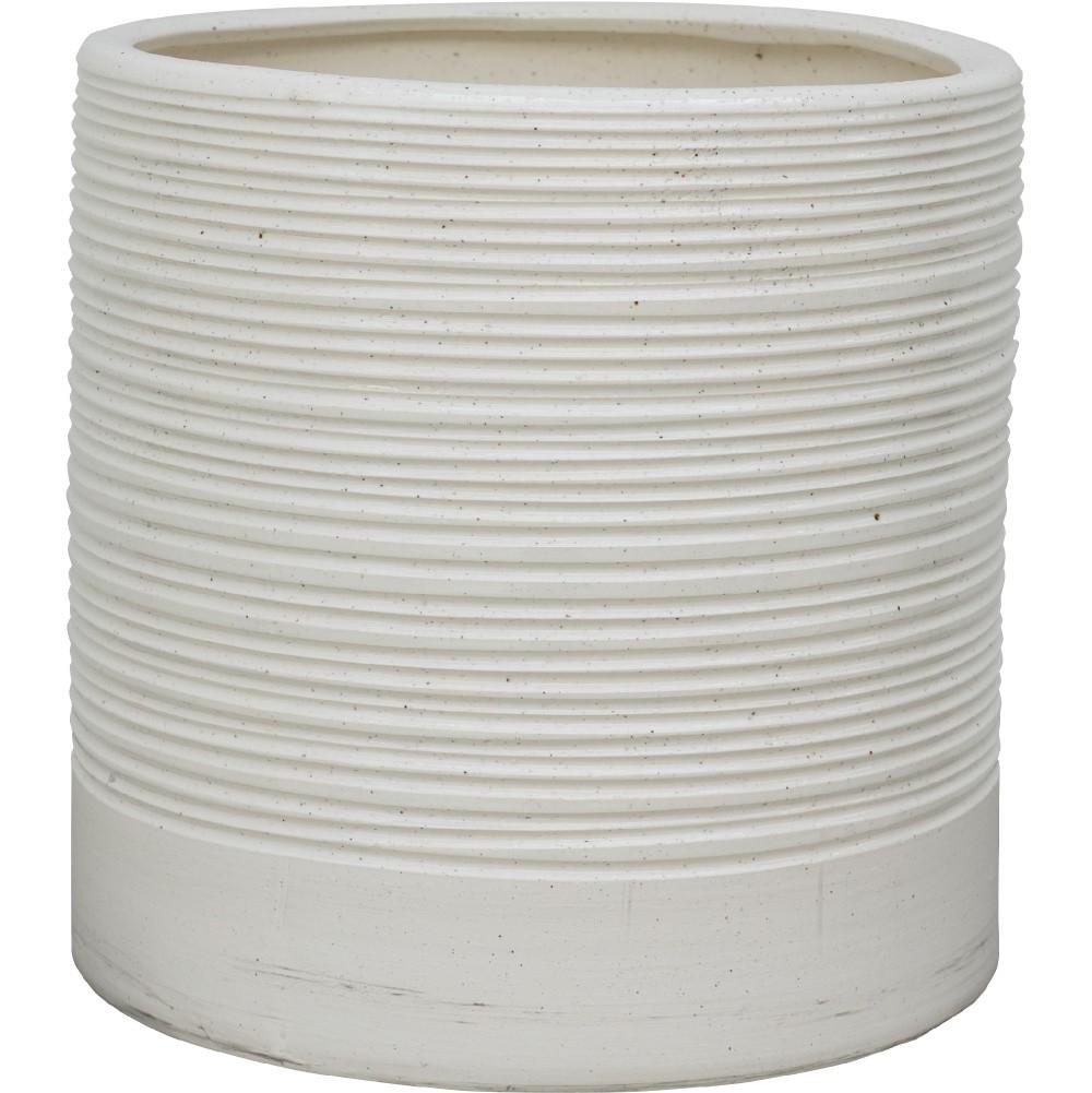 【樹木への取付費込】 セラック シリンダー ボーダーホワイト 40cm 11.5号 釉薬陶器 丸鉢 鉢カバー ポット