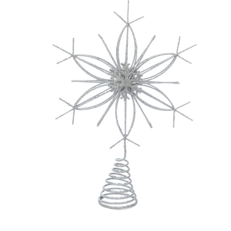 ギフト プレゼントに スノーフレークツリートップ SI 完売 クリスマス グッズ Xmas 定番キャンバス 飾り