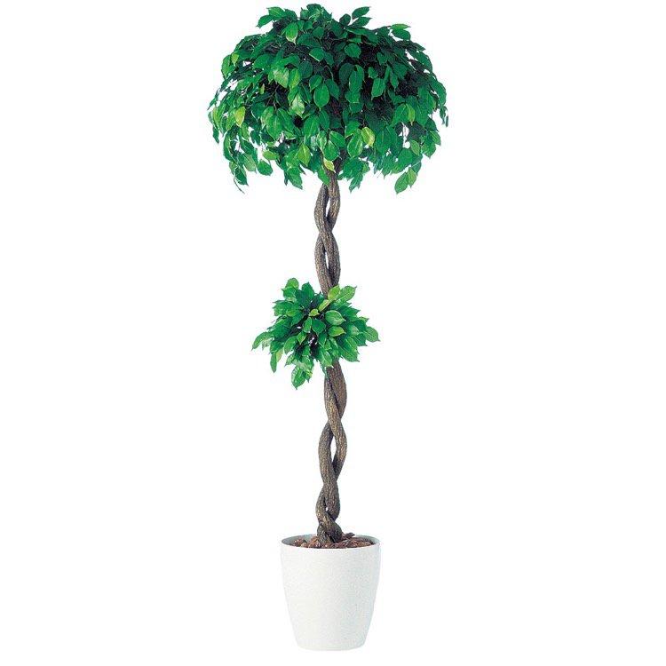 【フェイクグリーン 大型】 フィッカスベンジャミナダブル (ベンジャミン) 180cm 鉢植 【人工観葉植物 観葉植物 造花 光触媒 CT触媒 インテリア】