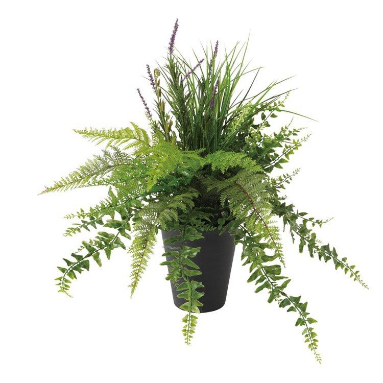 【観葉植物 造花】 セージMIXブッシュ 50cm 【フェイクグリーン 人工観葉植物 光触媒 CT触媒 インテリア】