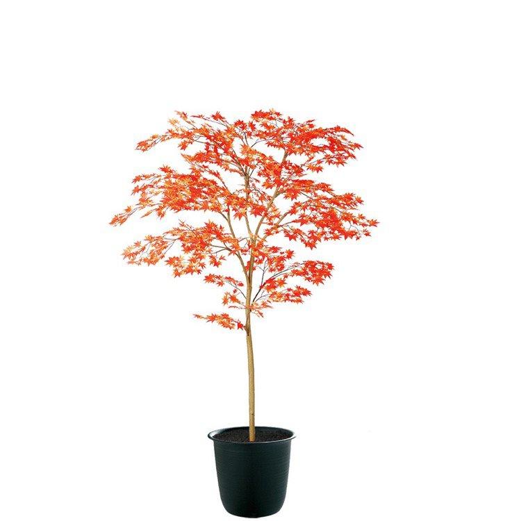【観葉植物 造花】 ヤマモミジ株立 RED FST 150cm 鉢植 【人工観葉植物 大型 フェイクグリーン 光触媒 CT触媒 インテリア】