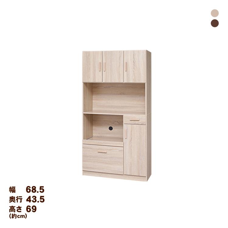 食器棚1890 OK・WN KR-T002 送料無料 食器棚 キッチンボード 幅90 キッチン 収納 オーク・ウォルナット【D】 【代引不可】