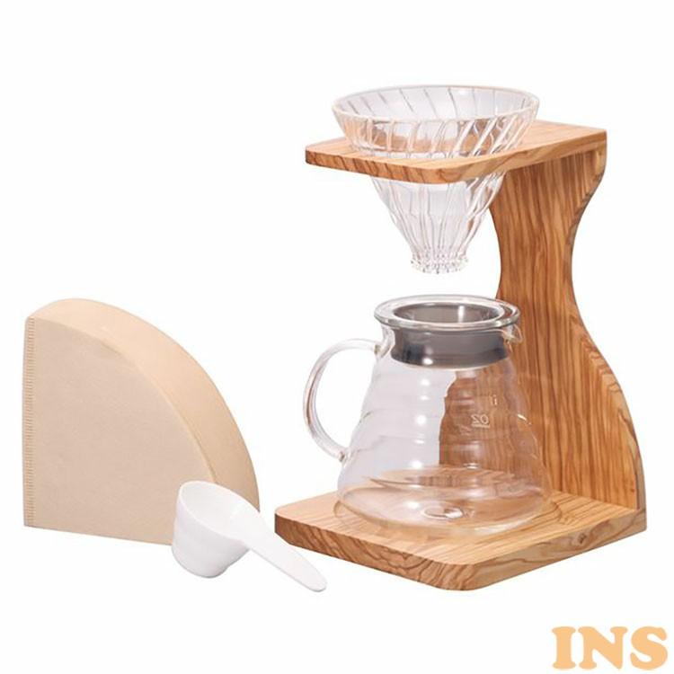 コーヒーメーカー V60 オリーブスタンドセット VSS-1206-OV 送料無料 コーヒーメーカー 耐熱ガラス セット オリーブ coffee ハリオ お洒落 ナチュラル 木製 HARIO 【D】