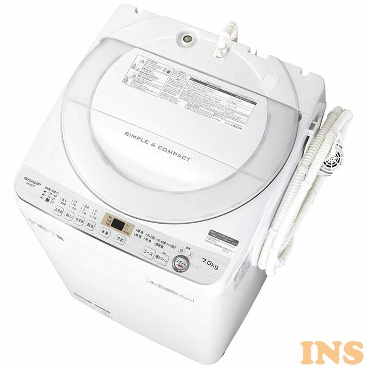 洗濯機 7kg 全自動洗濯機 7kg ES-GE7C-W 送料無料 洗濯機 洗濯 節水 全自動 一人暮らし 抗菌 家電 生活家電 SHARP シャープ 【D】