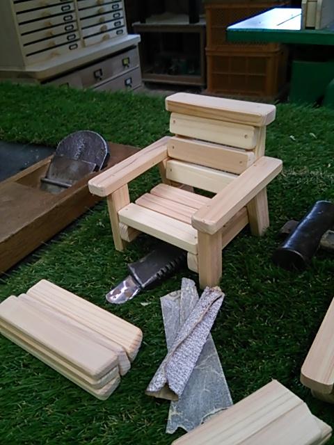 K Ichikawa Wood Cute Cute Little Make Believe Desk Chair Mini Make