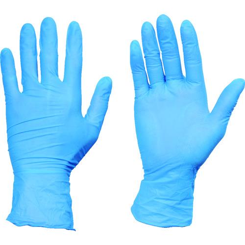 TRUSCO 10箱入り 使い捨てニトリル手袋TGワーク 0.10 粉無青L TGNN10BL10C