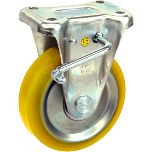 シシク 静電気帯電防止キャスター 固定ストッパー付 130径 ウレタン車輪 EUWKB130