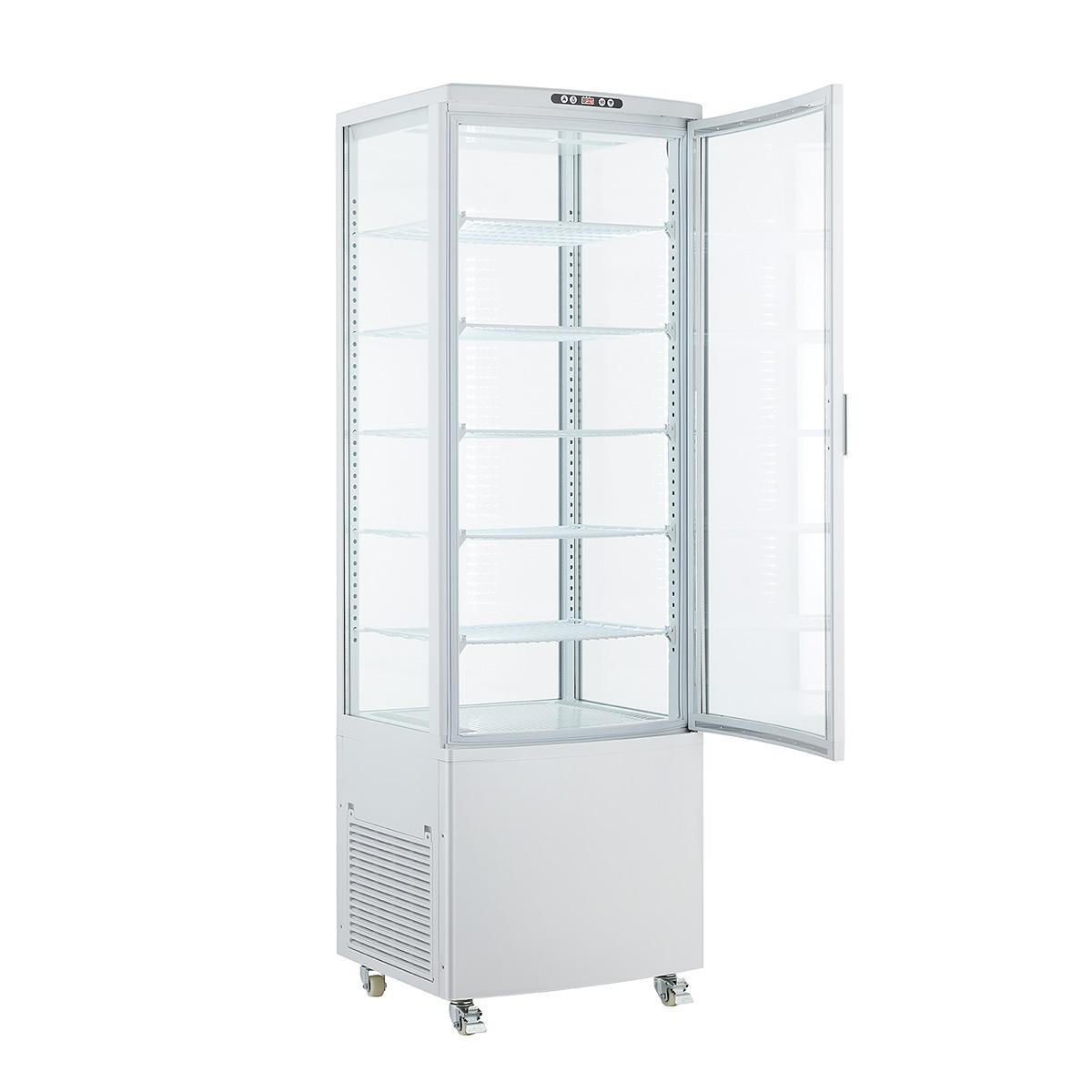 業務用冷蔵ショーケース 冷蔵庫 大型 開店記念セール 内祝い 送料無料 4面ガラス 218L冷蔵ショーケース メガプライスSALE 30台限定特価 ホワイト HJR-BFG218WT 大型冷蔵庫 218L 業務用冷蔵庫 営業日6日以内出荷 大型4面ガラス冷蔵ショーケース