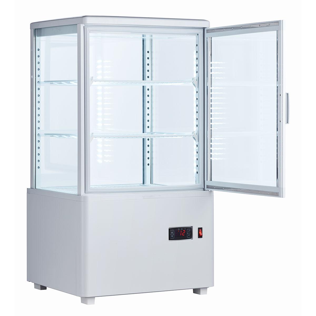 業務用冷蔵ショーケース 冷蔵庫 ショーケース 大型 送料無料 4面ガラス 【アウトレットSALE特価!】冷蔵ショーケース60L/ホワイト【HJR-FG60SWTAR】業務用冷蔵庫 小型 卓上 4面ガラス冷蔵ショーケース 送料無料 フリーザー ショーケース