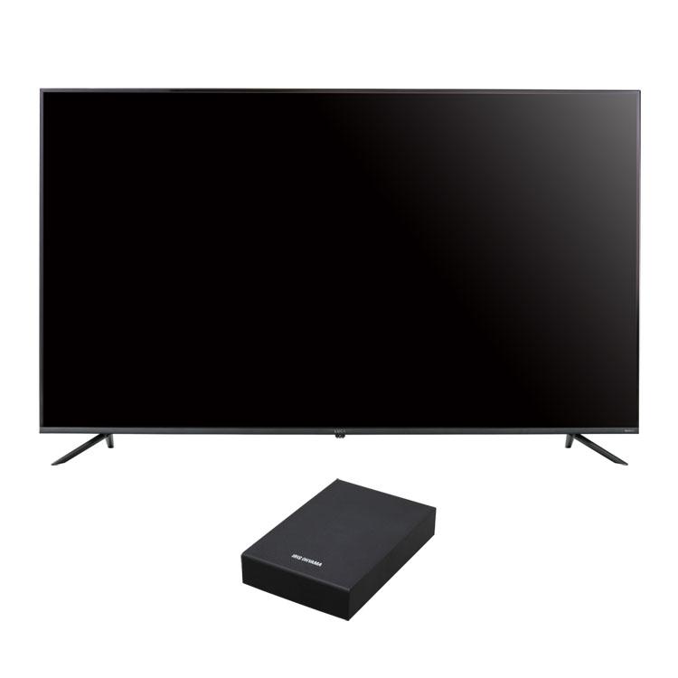 [450円クーポン配布中★]4Kテレビ ベゼルレスK 65型 外付けHDDセット品送料無料 テレビ HDD セット TV 4K 65V 65型 外付け ハードディスク アイリスオーヤマ