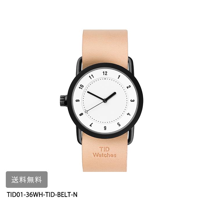TID Watches No.1 ホワイト文字盤36mmナチュラルレザーベルトTID01-36WH-TID-BELT-N