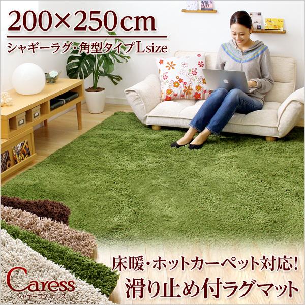 rgs-q-l 【送料無料】(200×250cm)マイクロファイバーシャギーラグマット【Caress-カレス-(Lサイズ)】