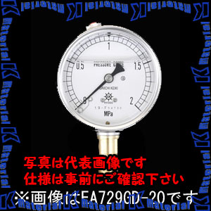 【P】【代引不可】【個人宅配送不可】ESCO(エスコ) 100mm/ 0-10MPa 圧力計(グリセリン入) EA729GF-100[ESC051839]