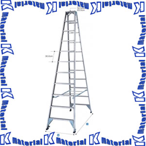 【代引不可】【送料要確認】長谷川工業 幅広ステップ長尺強力型脚立 天板高3.74m FAM-390 10487 [HS0087]