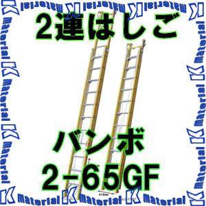 【P】【代引不可】【送料5400円】ナカオ 二連伸縮はしご バンボ 2-65GF 全長3.80-6.46m [NK0106]
