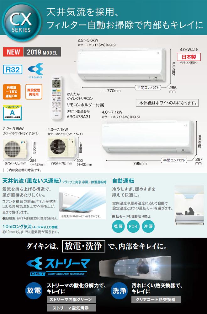 [S28WTCXS-W] ダイキン ルームエアコン CXシリーズ 冷房/暖房:10畳程度 2019年モデル 単相100V・15A 室内電源タイプ ホワイト