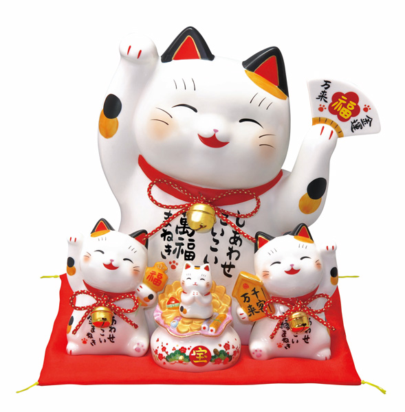 彩絵お金まねき猫(萬福まねき)(貯金箱)