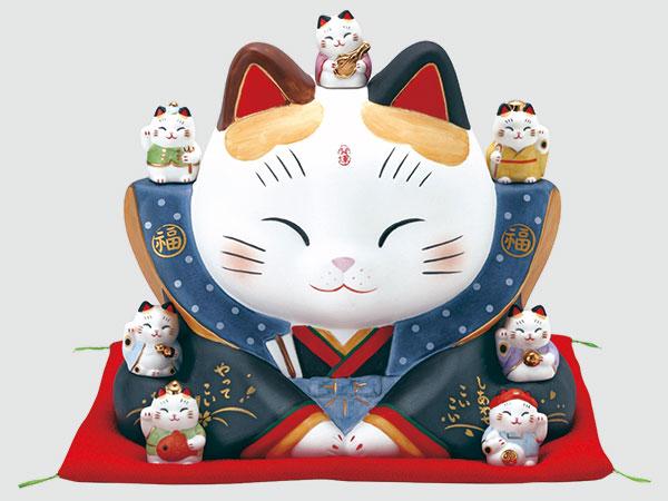 彩絵七福神福助招き猫(大)