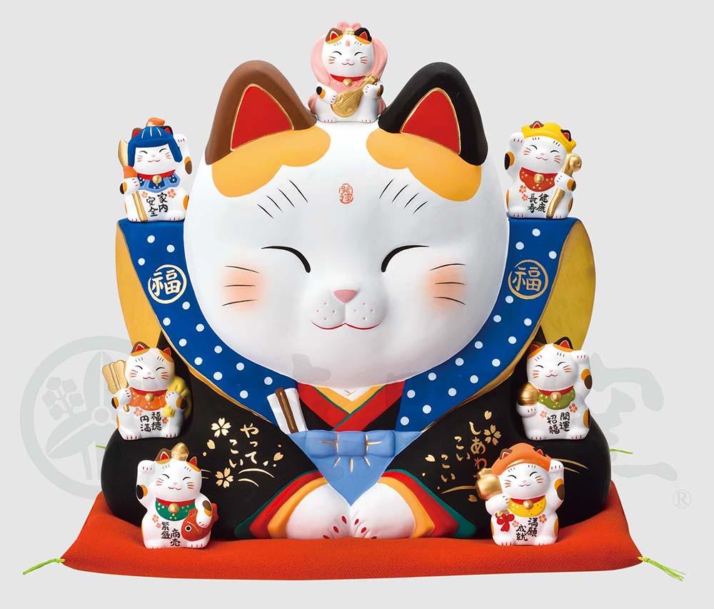 幸運 招福 縁起物 招き猫 錦彩七福神福助招き猫(10号)