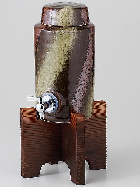 ラッピング無料 ギフト 贈り物 プレゼント/ 黒伊賀ラジウム5号サーバー(コルク栓付、木台付) /敬老の日 新築祝い 引き出物 母の日 父の日
