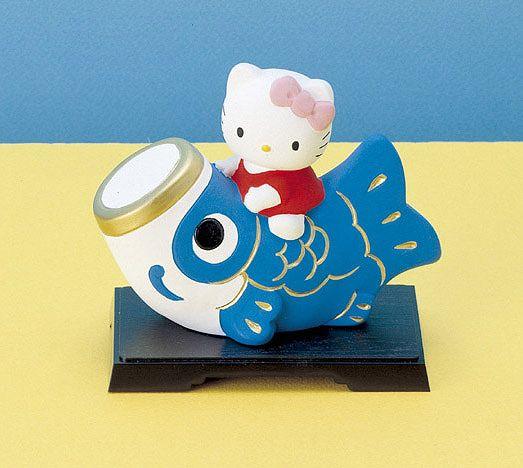 キティちゃんの五月人形☆ 五月人形 コンパクト 陶器 小さい 鯉のぼり ハローキティこいのぼり こどもの日 マーケット プレゼント お祝い 贈り物 初夏 アウトレット 端午の節句