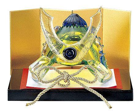 五月人形 コンパクト ガラス 小さい 兜 かぶと/ 粋工房作 瑠璃兜 /こどもの日 端午の節句 初夏 お祝い 贈り物 プレゼント