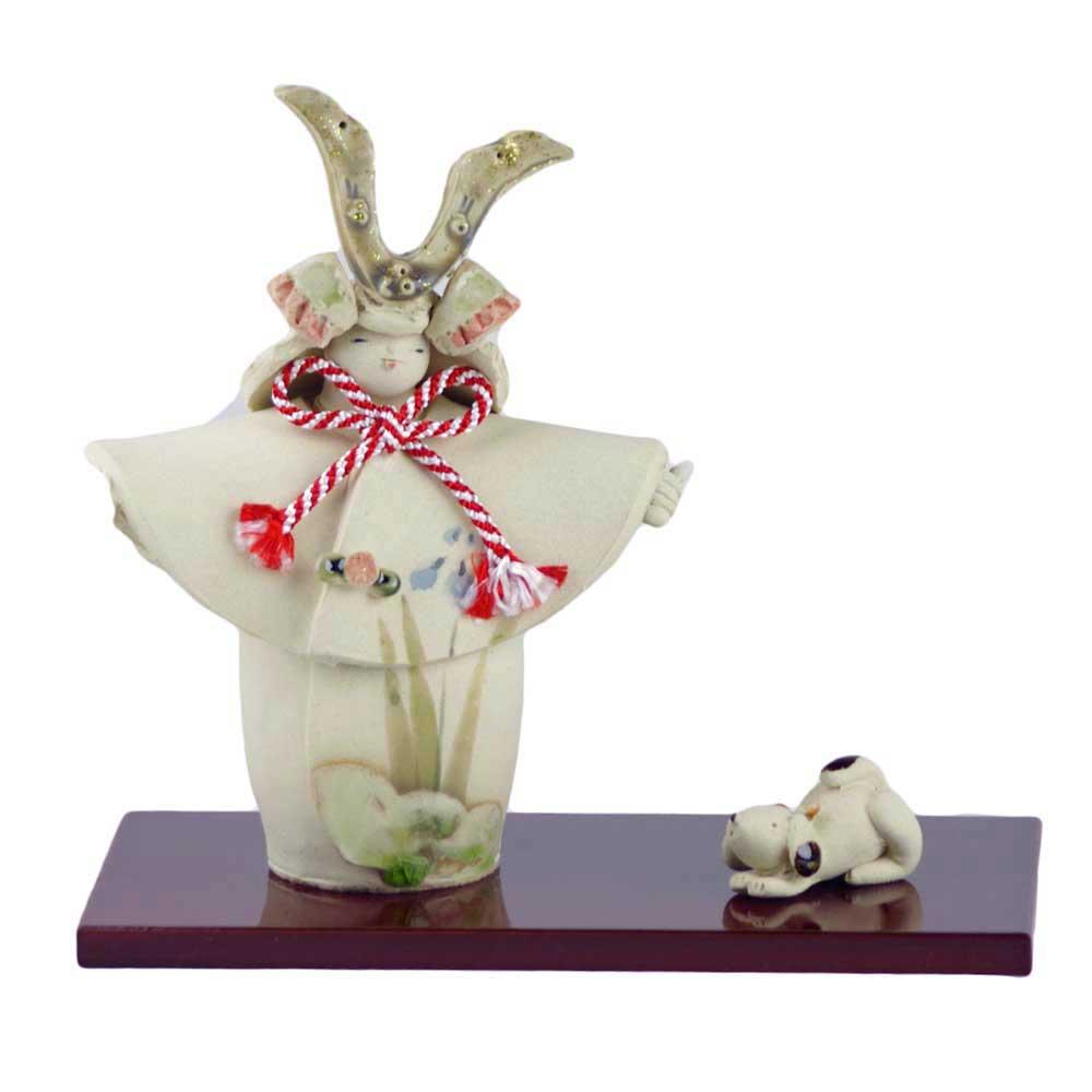 五月人形 コンパクト 陶器 小さい 大将 武将/ 人形師の手造り置物 泰子作 若武者 出陣 /こどもの日 端午の節句 初夏 お祝い 贈り物 プレゼント