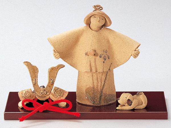 五月人形 コンパクト 陶器 小さい 大将 武将/ 人形師の手造り置物 泰子作 若武者 平安 /こどもの日 端午の節句 初夏 お祝い 贈り物 プレゼント
