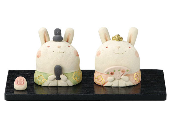 雛人形 コンパクト 陶器 小さい 可愛い ひな人形/ 奈の花窯 兎々内裏雛 /ミニチュア 初節句 お雛様 おひな様 雛飾り