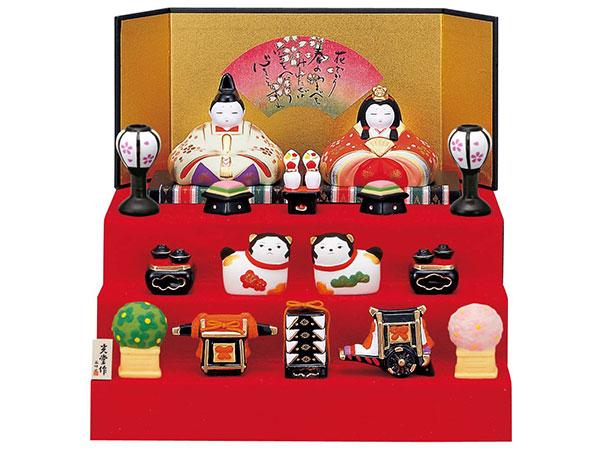 雛人形 コンパクト 陶器 小さい 可愛い ひな人形/ 錦彩華飾り雛(段飾り) /ミニチュア 初節句 お雛様 おひな様 雛飾り