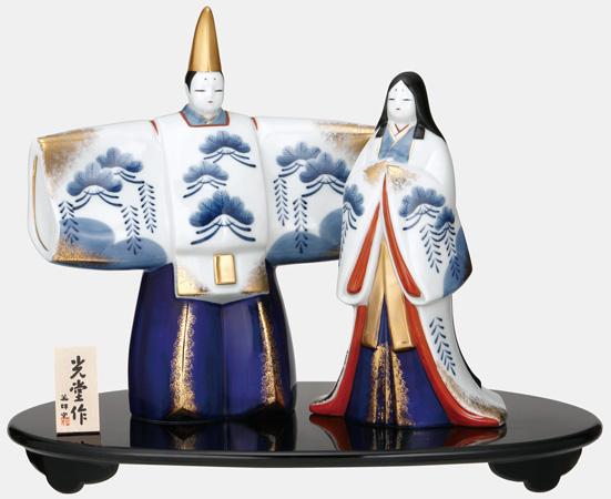 雛人形 コンパクト 陶器 小さい 可愛い ひな人形/ 染錦立雛(大) /ミニチュア 初節句 お雛様 おひな様 雛飾り