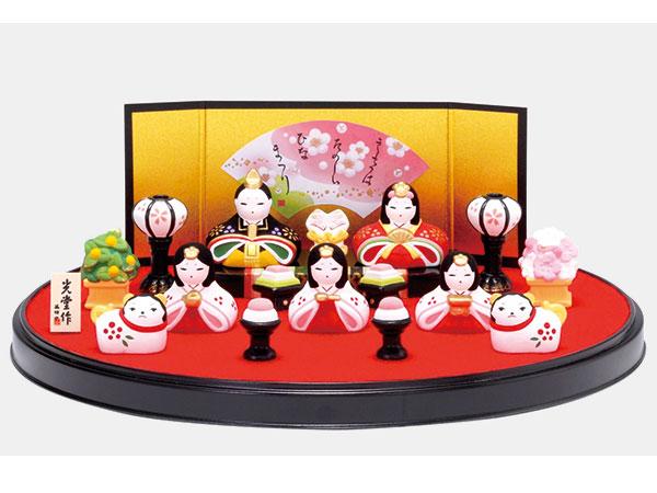 雛人形 コンパクト 陶器 小さい 可愛い ひな人形/ 錦彩花かざり雛(平飾り) /ミニチュア 初節句 お雛様 おひな様 雛飾り