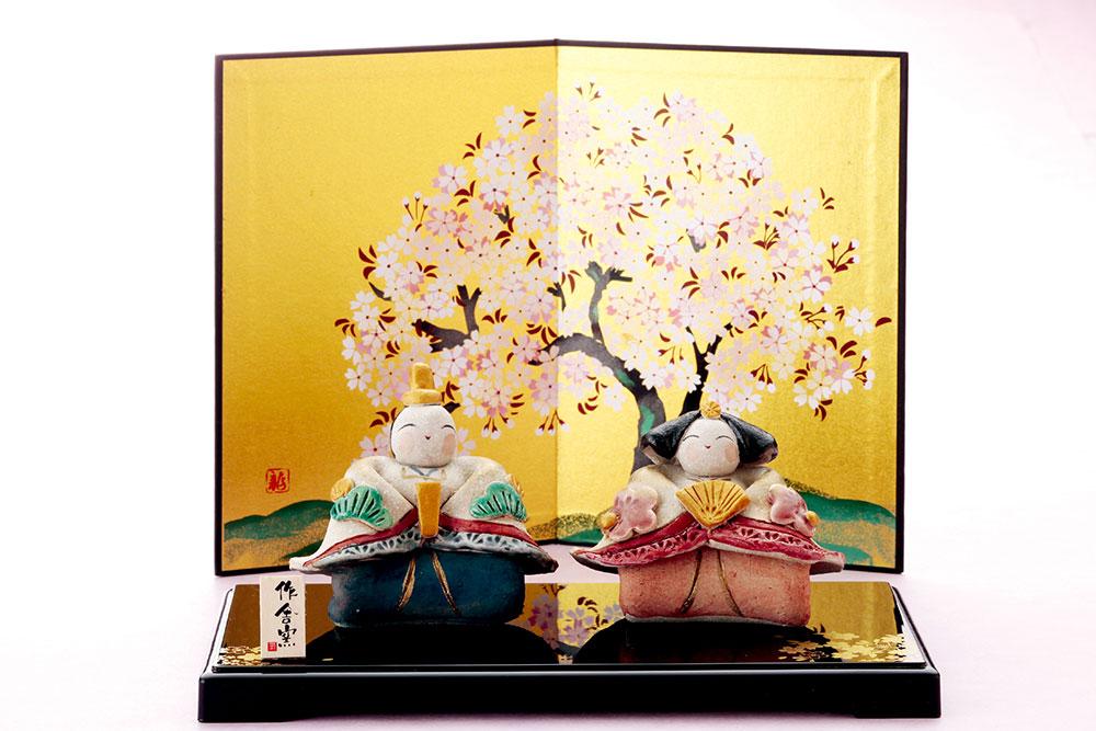 雛人形 コンパクト 陶器 小さい 可愛い ひな人形/ 人形師の手造り雛人形 ひさみ窯作 平安雅手作り座雛 /ミニチュア 初節句 お雛様 おひな様 雛飾り