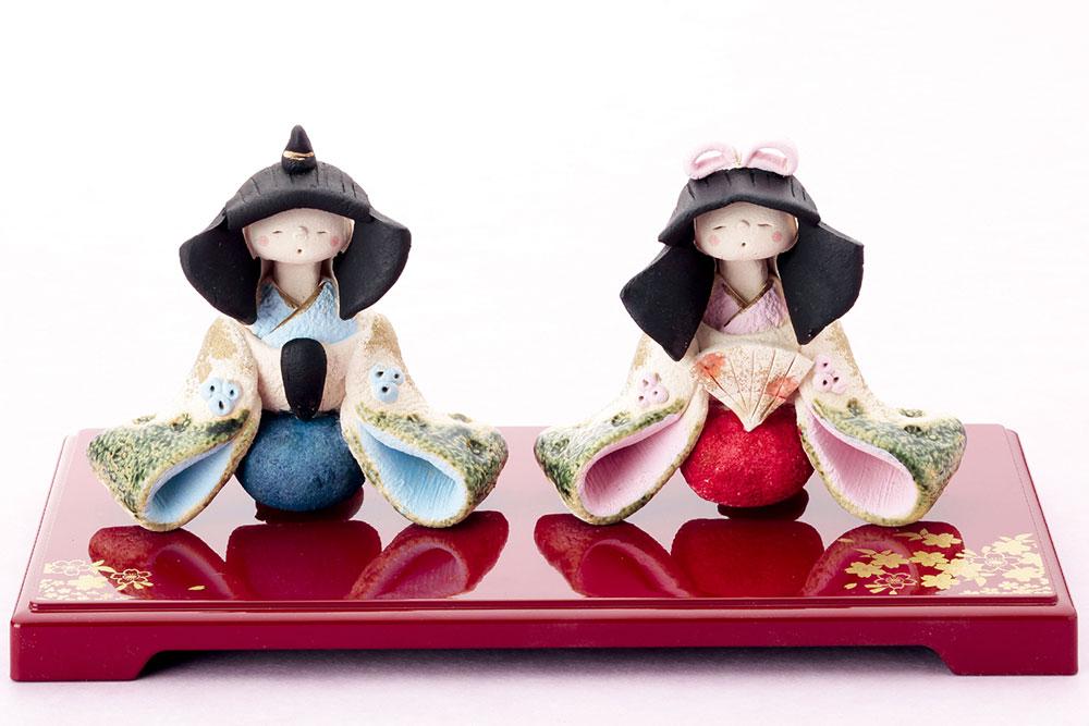 雛人形 コンパクト 陶器 小さい 可愛い ひな人形/ 人形師の手造り雛人形 弥生窯作 平安雅座雛 /ミニチュア 初節句 お雛様 おひな様 雛飾り